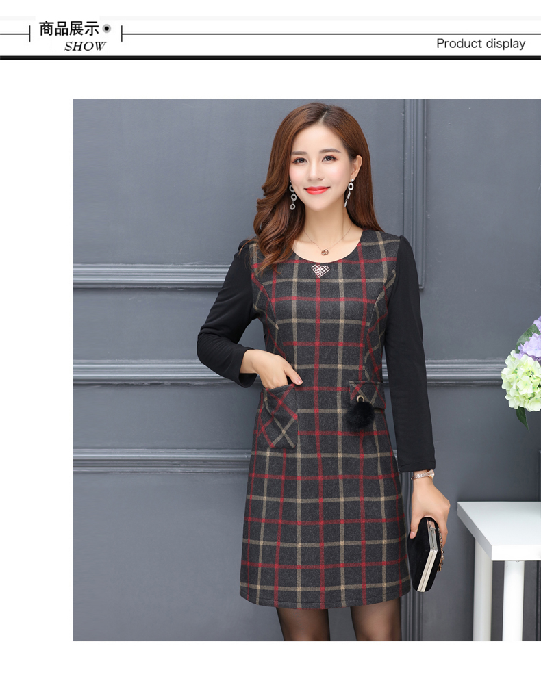 Winter Woman Elegant Tweed Dress Red Yellow Plaid Pattern Blends Robe Femme Thicken Fleece Dresses Woman Warm Shift Dress Office Outfits (4)