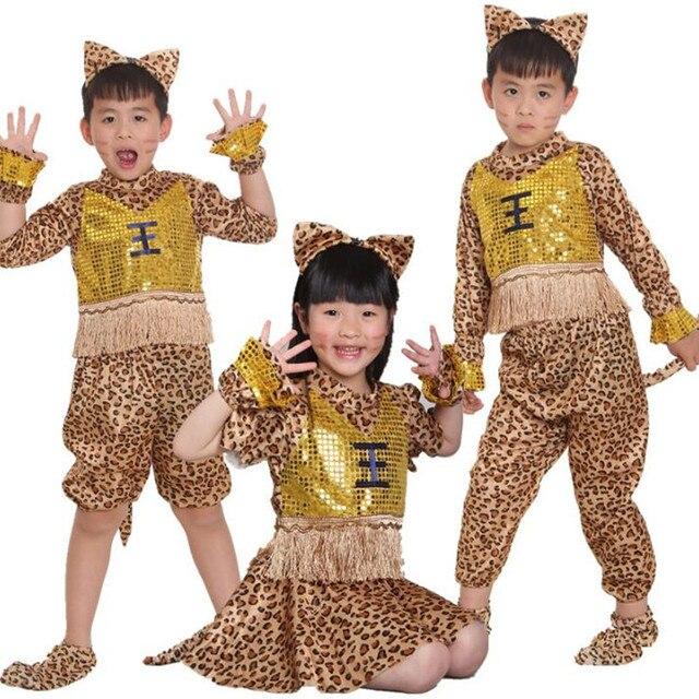 Niños niño niña leopardo imprimir traje niños Hunter Wildman Cosplay disfraces Halloween fiesta de Carnaval de Navidad