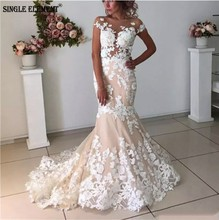 SINGLE ELEMENT Mermaid Wedding Dress 2019 Backless Strapless nude tulle lace applique Sexy Trumpet
