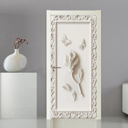 3D Door Sticker European Style Stereo Rose Butterfly Wallpaper Living Room Bedroom Creative DIY Wall Decor PVC Self-Adhesive 3 D
