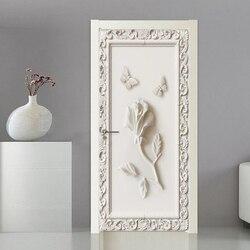 3D Porta Adesivo Estéreo Estilo Europeu Rose Borboleta Papel De Parede Quarto Sala de estar Criativo DIY Decoração PVC papel de Parede Auto-Adesivo 3 D