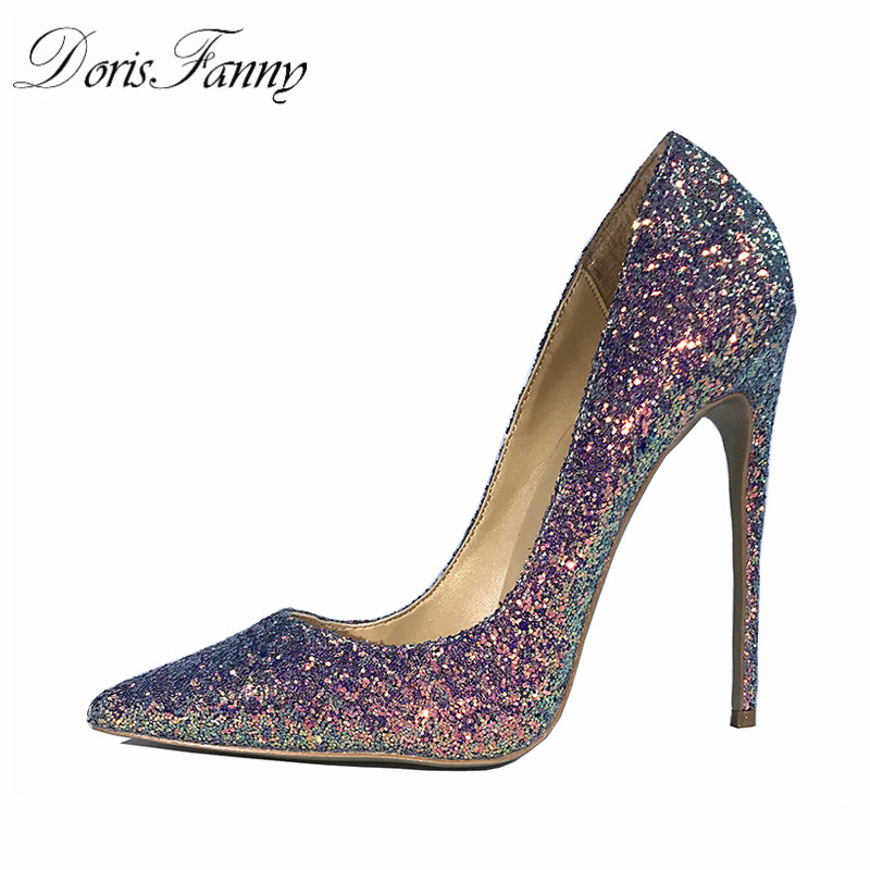 DorisFanny bling bling wedding shoes high heel pumps very sexy stiletto heels party shoes for women цена