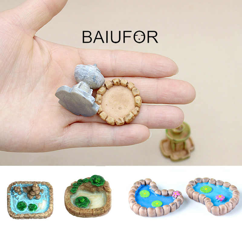 BAIUFOR Resin Miniatures Mini Pool & Lotus Pond Model Fairy Garden Decor Terrarium Figurines Succulents Ornament Resin Craft