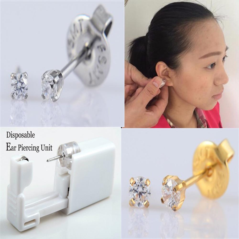 2PCS Sterile Disposable Ear Piercing Unit Gun Piercer Tool Machine Cartilage Tragus Helix Piercing Stud Earring