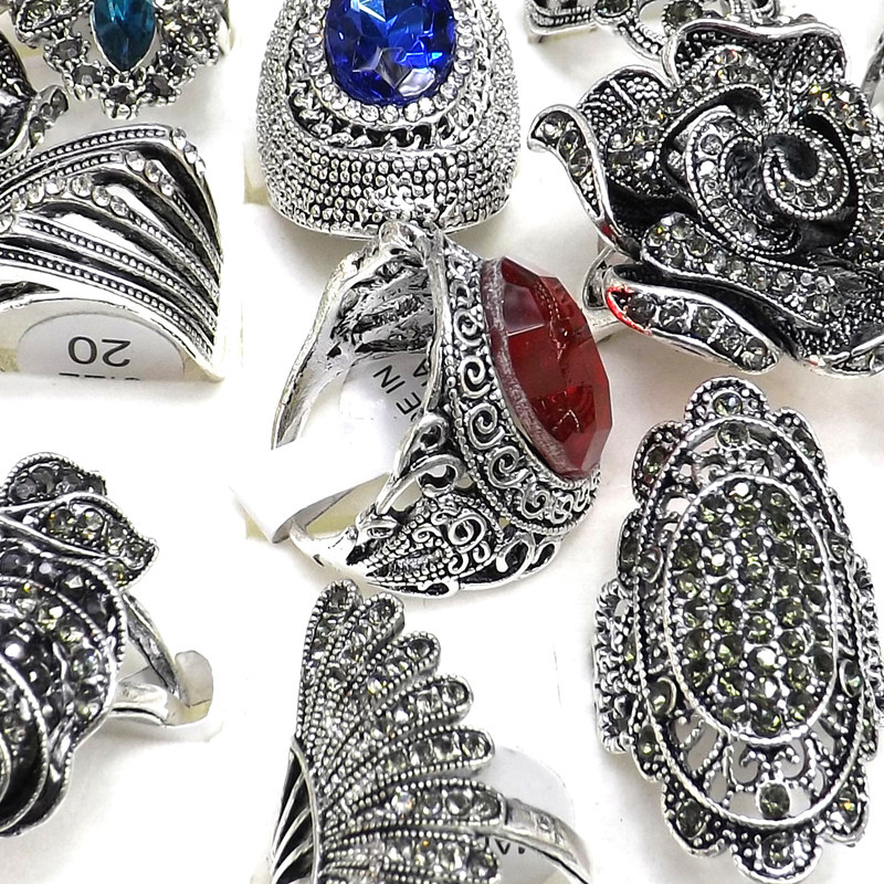Image 3 - 50pcs Baroque Style Vintage Rhinestone Rings Flower Design Feather Design Free ShippingRings