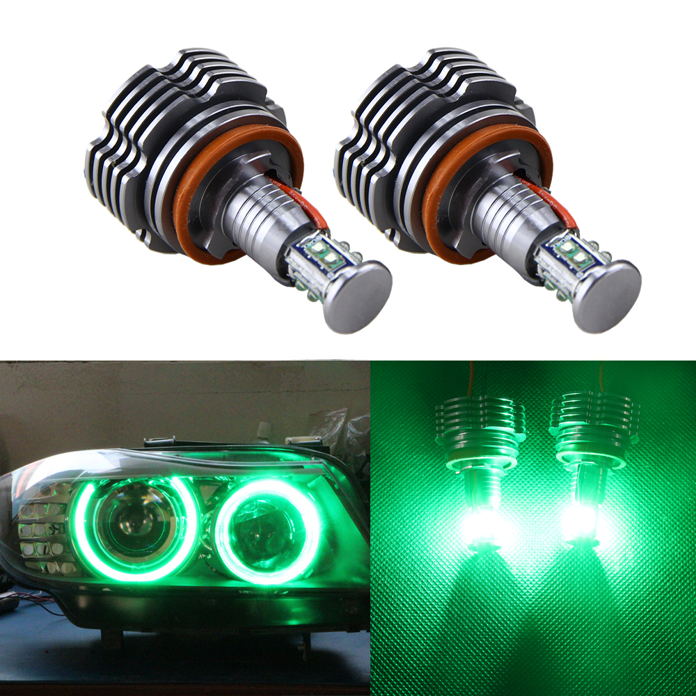 2x 40W CREE Chips H8 LED Angel Eyes Halo Ring Marker Light Bulbs Green color for BMW E90 E92 E60 E70 E83 X3 X5 X6 Black Cover
