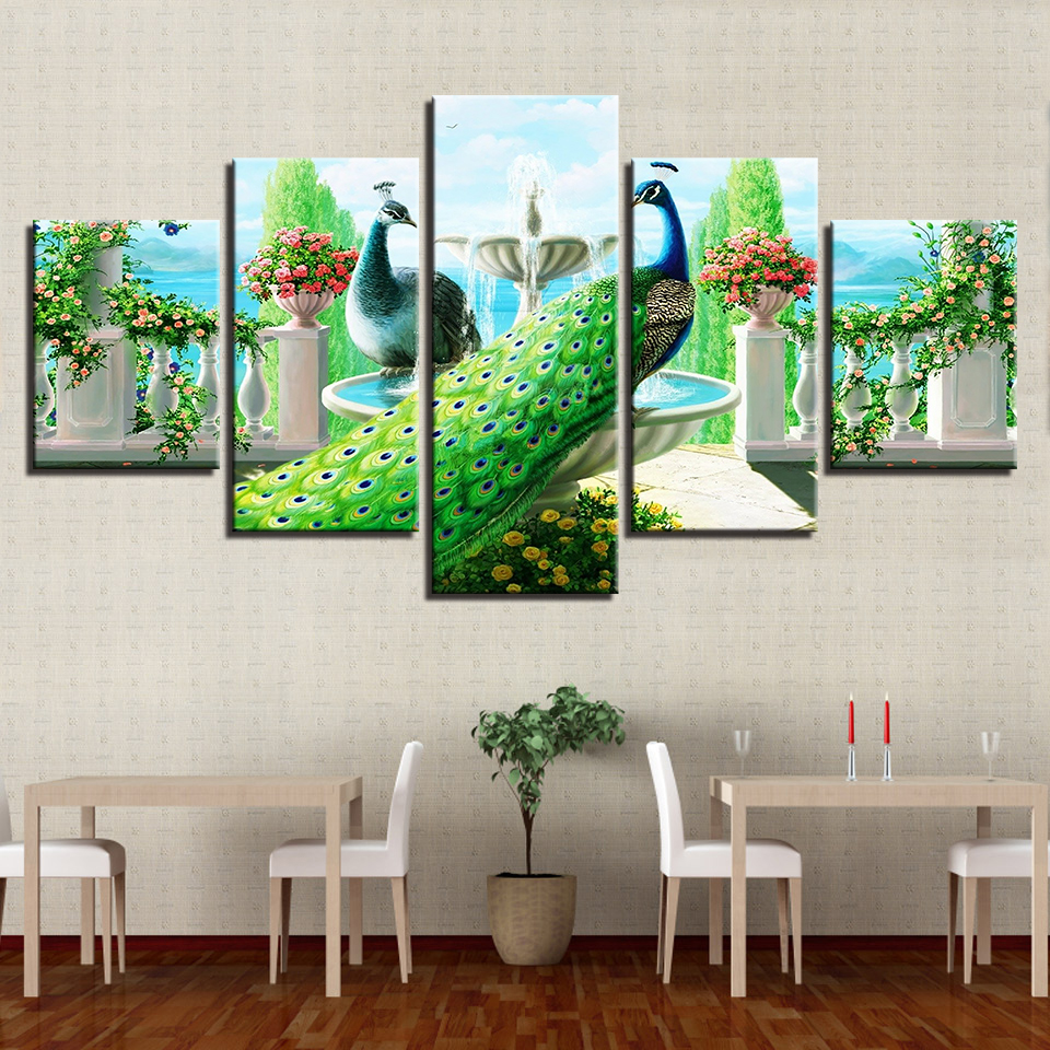 Canvas Poster Modular Home Decor HD Printed 5 Pieces Peacock Couple Paintings Wall Art Garden Fountain Pictures For Living Room