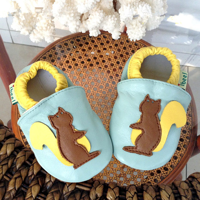 Brand New Baby Shoes Cute Little Squirrel Baby Soft Sheepskin Moccasins High Quality Infants Genuine Leather First Walkers