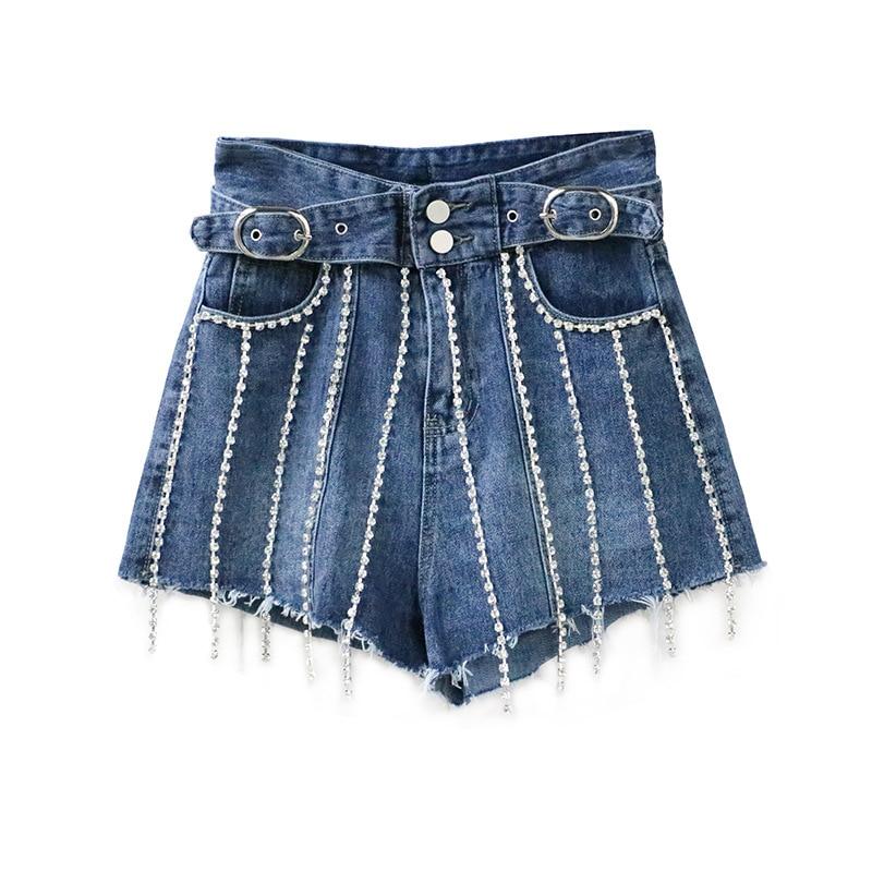 2019 Sexy Summer   Shorts   Women High Waist Chain Boho Hot   Shorts   Vintage Belt Design Women Denim   Shorts   Pantalones Feminino