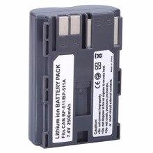 Hot vender 1 pcs BP 511 BP511A Bateria para câmera Canon EOS 40D 300D 5D 20D 30D 50D 2500 mAh, para canon acessórios + atacado