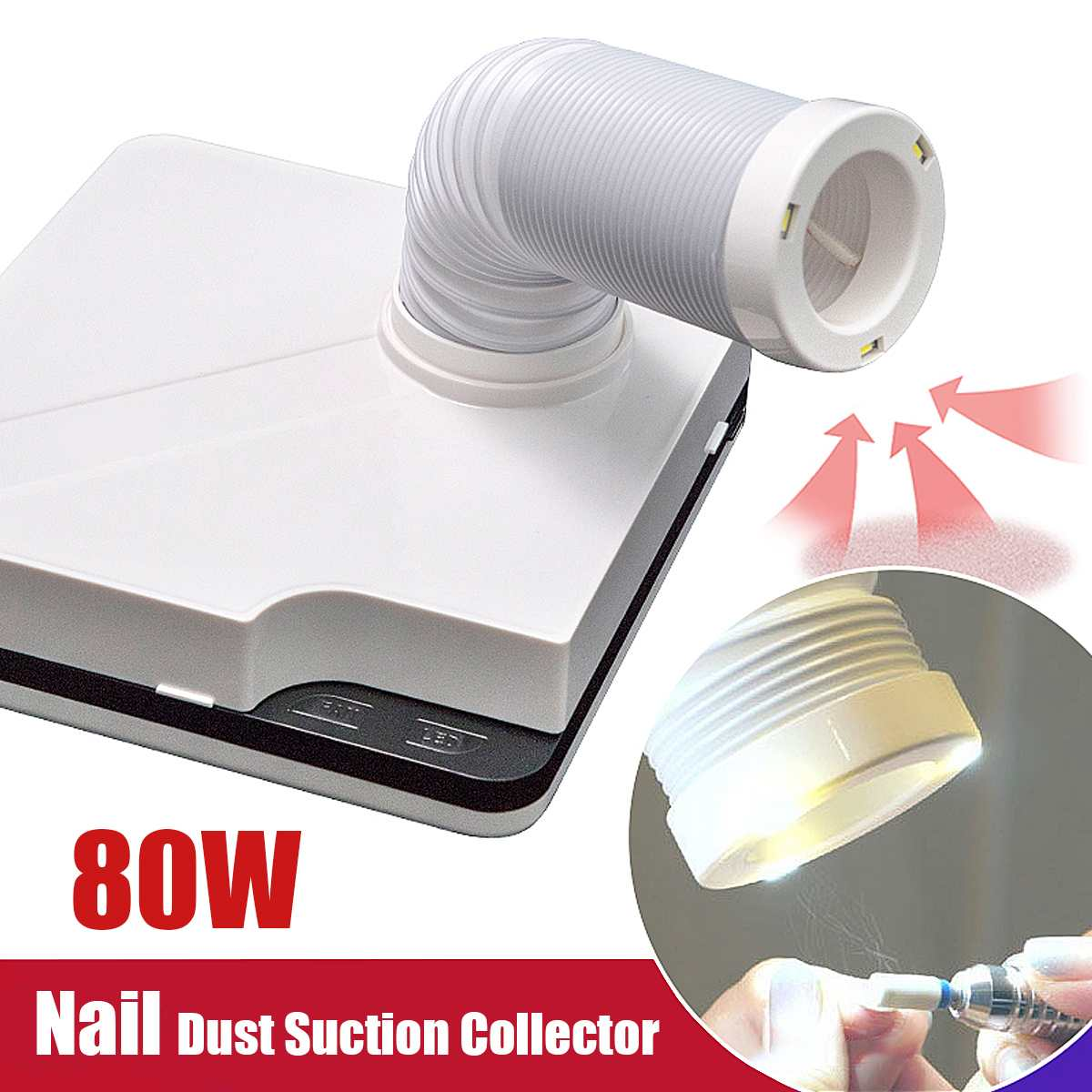 80W Strong Power Nail Suction Dust Collector Nail Dust Collector Vacuum Cleaner Nail Fan Art Salon