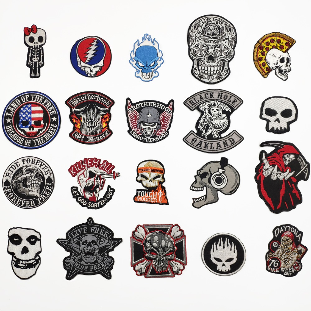 Mixed Skull Patch Iron On Embroidered Biker Patches for Jacket T shirt Sticker Cheap Samples for Clothing Backpack Badges(China)
