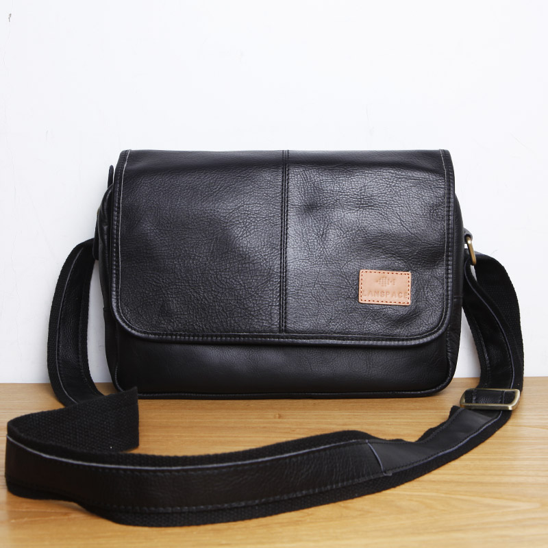 LANSPACE men's leather messenger bag fashion  japan  leather shoulder bag