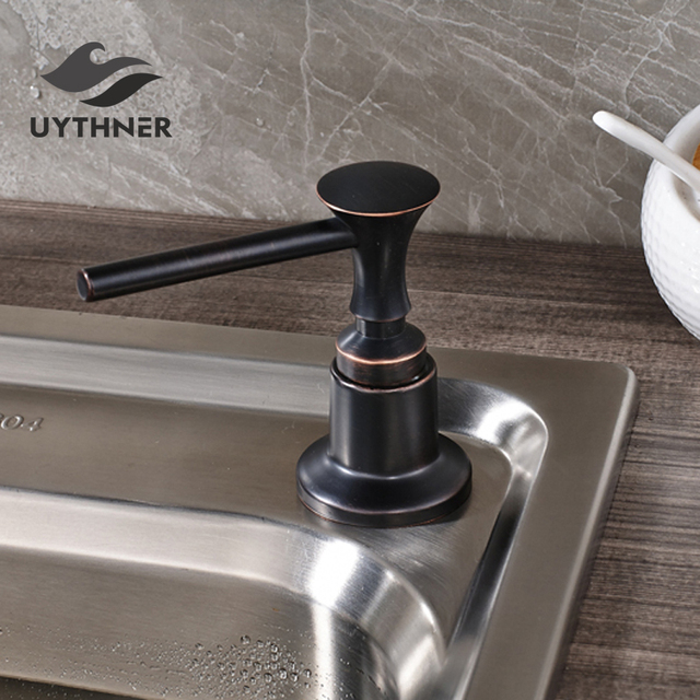 Oil Rubbed Bronze Kitchen Soap Dispenser 220ml Plastic Bottle Sink Liquid Deck Mount