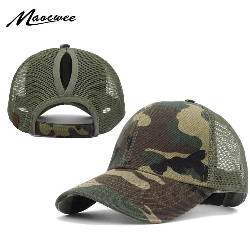 Ponytail Baseball Cap Women Messy Bun Baseball Hat Snapback Camouflage Mesh Cap Spring and Summer Camo Outdoor Hat