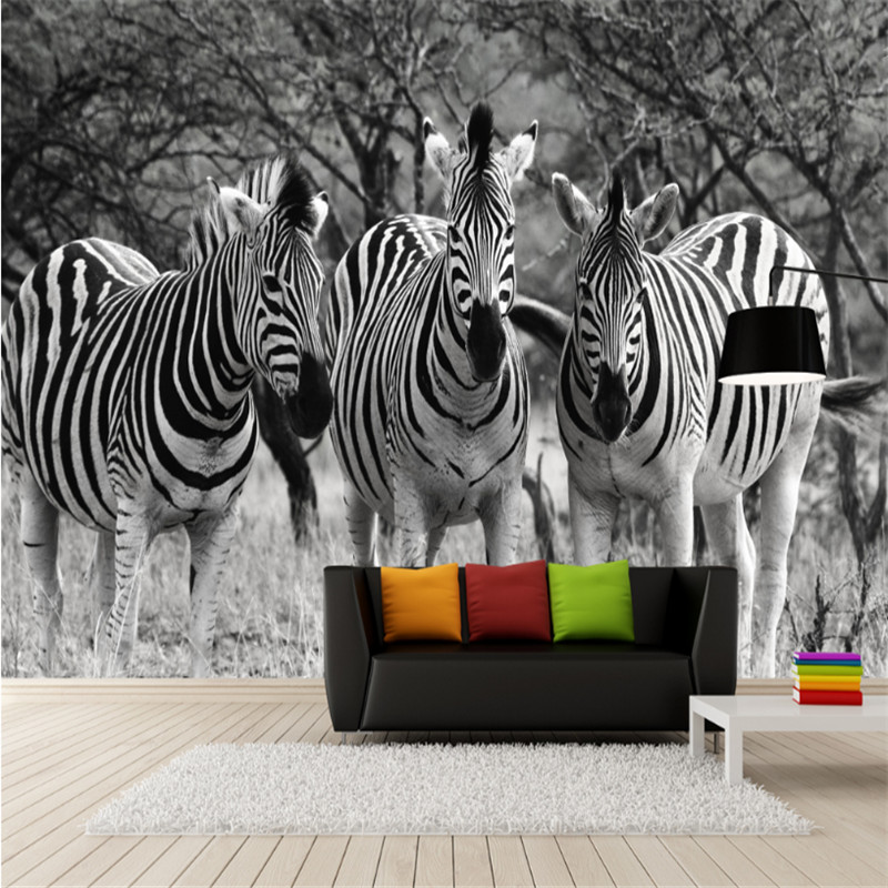 custom 3d photo high quality non-woven mural wall wallpaper 3d retro black and white zebra fresco TV background wall home decor  free shipping hepburn classic black and white photographs women s clothing store cafe background mural non woven wallpaper