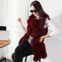 Nice Red Autumn Winter Warm Women Fur Vests Pure Color Round Neck Sleeveless Lady Outerwear Casual Long Style Women Jacket