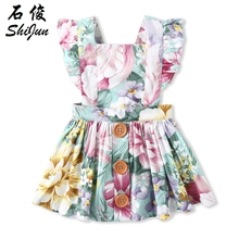 oddler Pinafore Dress, Girls Floral Pinafore Dress,Rose Pinafore Dress, Colorful Flower Dress bow detail oversized pinafore jumpsuit