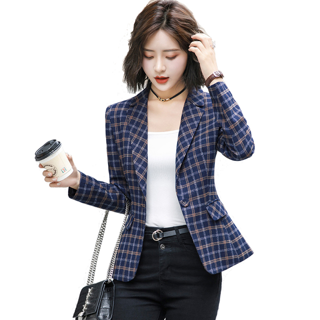 2019 High-quality Plaid Female Jacket with Pocket Office Work Lady Casual Style blazer Women Wear Coat Plus Size Gray