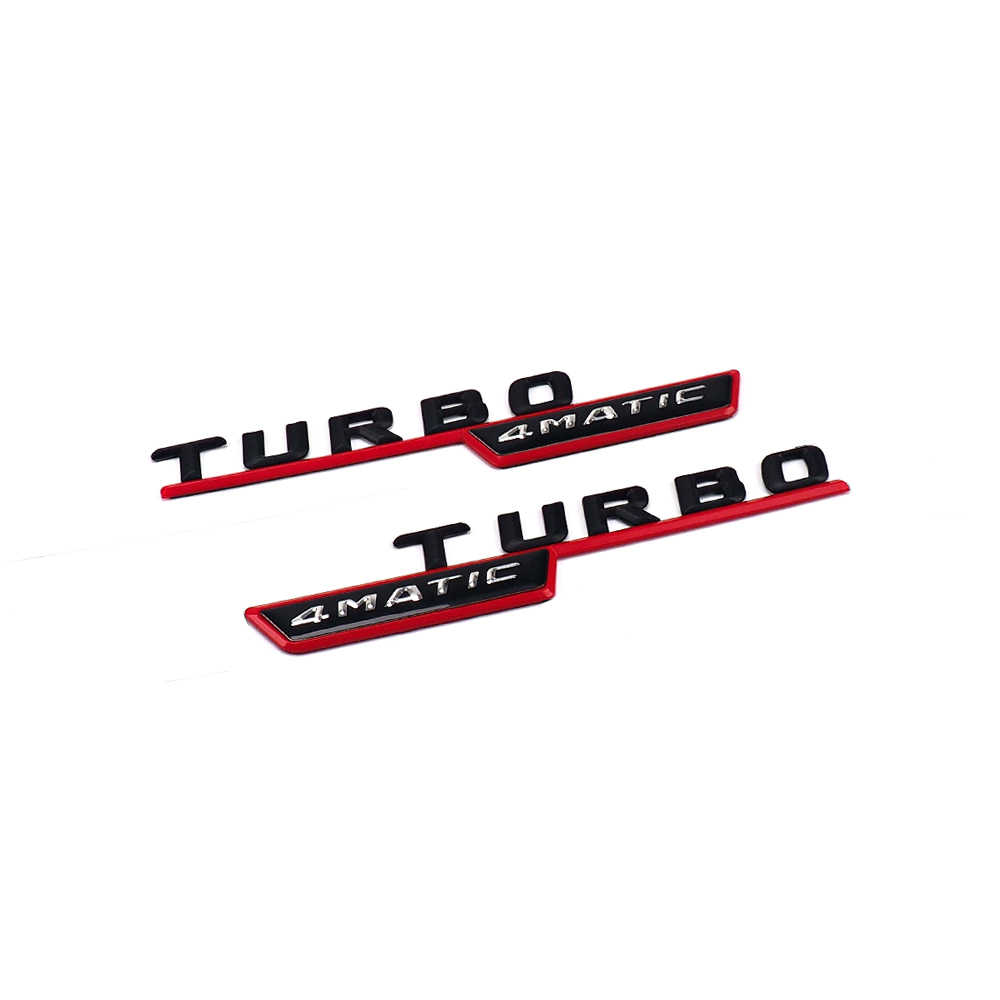 2pcs TURBO 4MATIC Logo Car Front Fender Insignia Decor