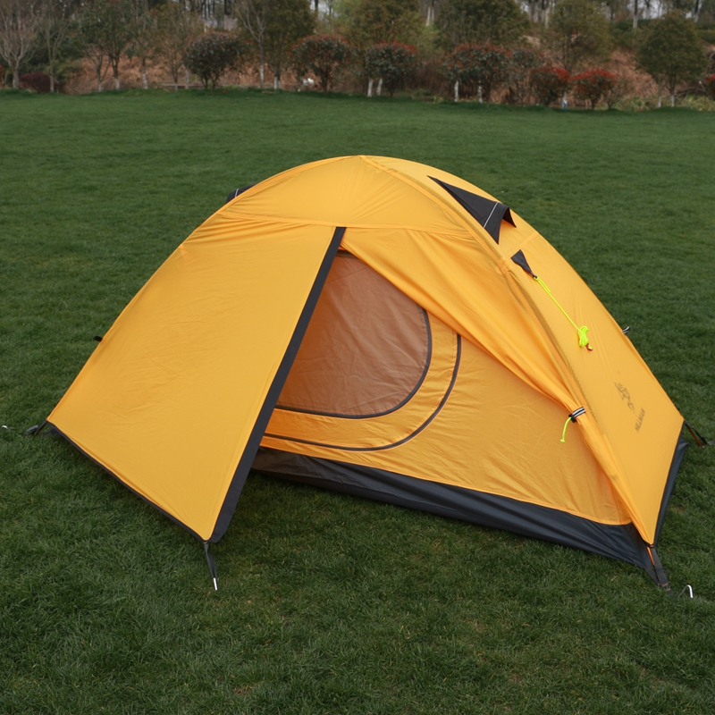 HillMan Tent 20D Silicone Fabric Ultralight 1 Person Double Layers Aluminum Rod Hiking Single Tent 4 Season 2 Colors 3kg ultralight camping tent 2 3person coated with 20d silicon double layers aluminum rod snow mountain keep warm tents