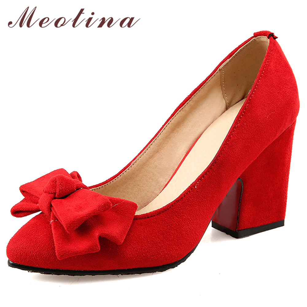Meotina High Heels Women Pumps Bow Chunky Heels Red Bridal Shoes Pointed Toe Super High Heel Shoes Ladies Yellow Plus Size 33-43