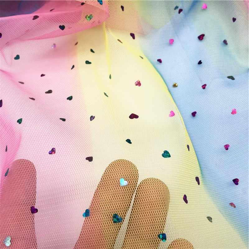 Heart Glitter Lantejoula Tulle Tecido 1 m/saco Tutu Casamento Decoração Acessórios de Costura Retalhos de Malha Camisa DIY Organza Saia Tutu