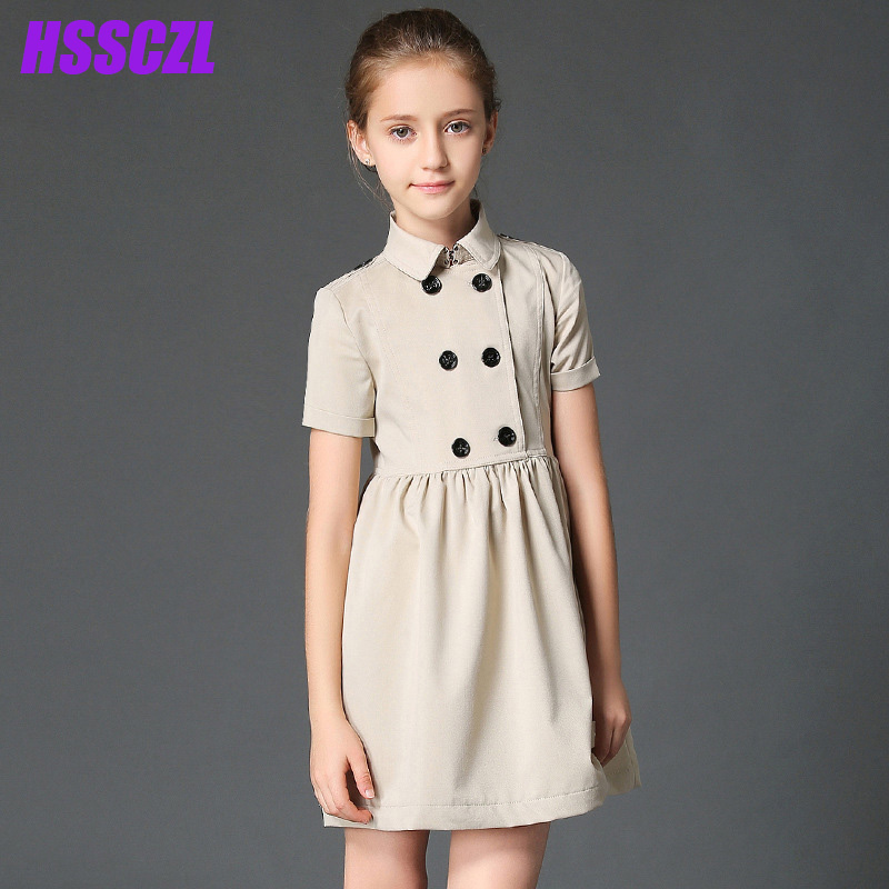 HSSCZL Girls Dress 2017 Brand Spring&Summer Girl Children Clothes kids Dresses Double-breasted Solid Button Cotton Clothes 5-14Y