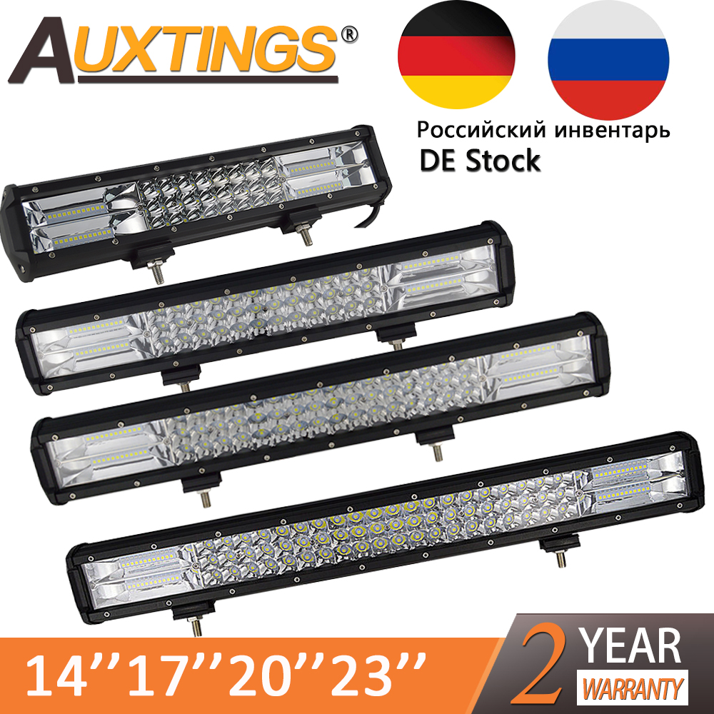 Auxtings 5 14 17 20 23'' 3-Row LED Light Bar Offroad Led Bar Combo Beam Led Work Light Bar for Truck SUV ATV 4x4 4WD 12v 24V