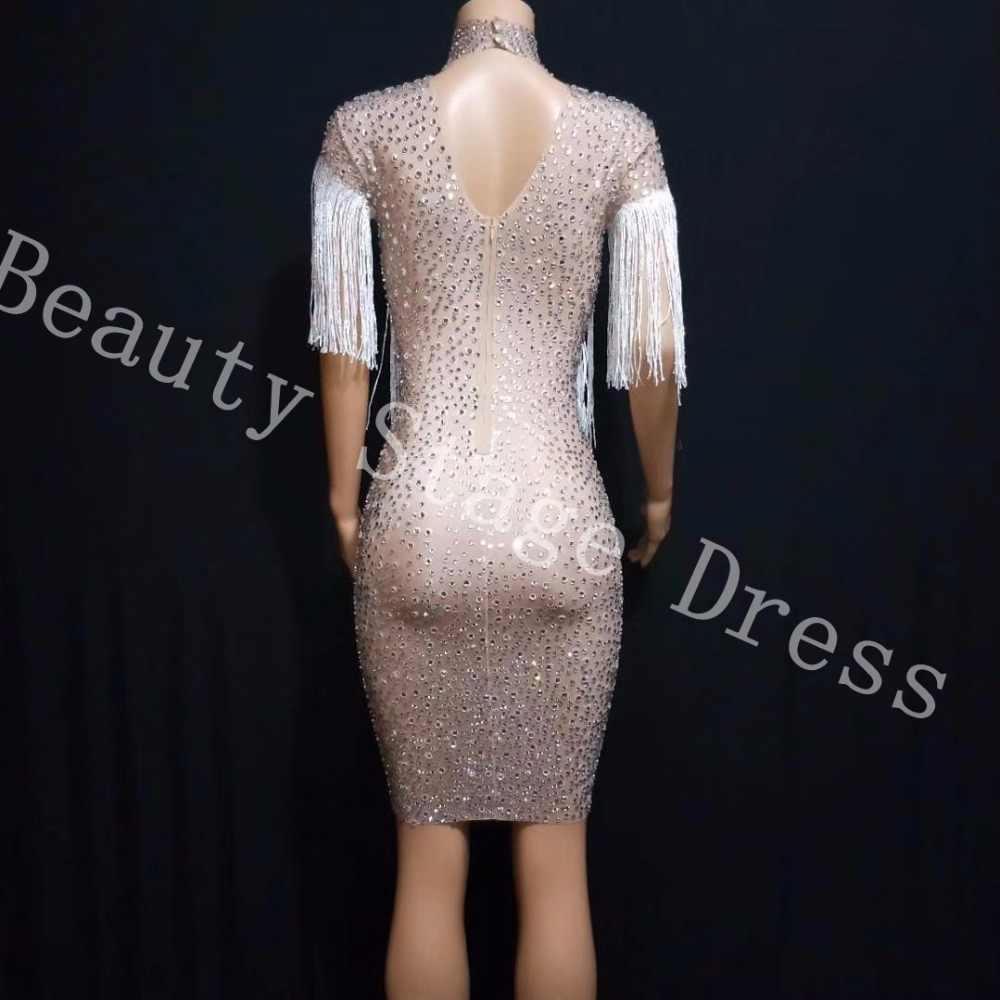 da4c4494 ... Sparkly Crystals Big Stretch Dress Women's Evening Party Wear Full  Rhinestones Tassel Dress Prom Birthday Celebrate ...