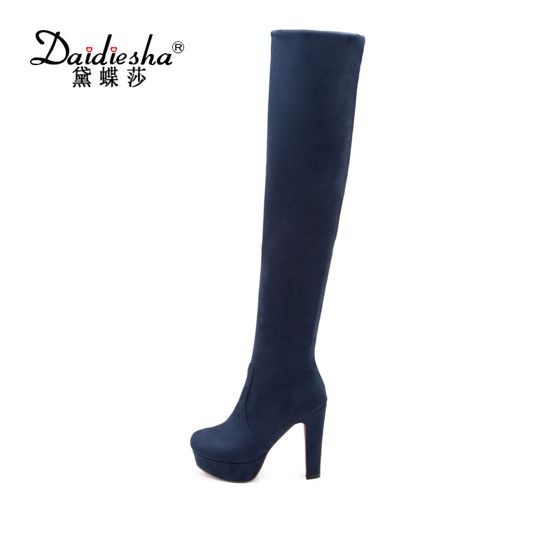 Daidiesha 2017 Faux Suede Slim Boots Sexy over the knee high women snow boots womens fashion winter thigh high boots shoes