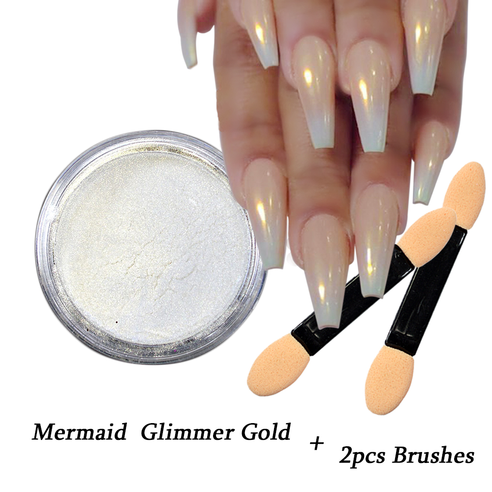 цены на 1pcs Gradient Gold Mermaid Nail Glitter Powder Shiny Glimmer Flakes Nail Art Tips Decoration Tips +2pcs Brushes SAND262-G в интернет-магазинах