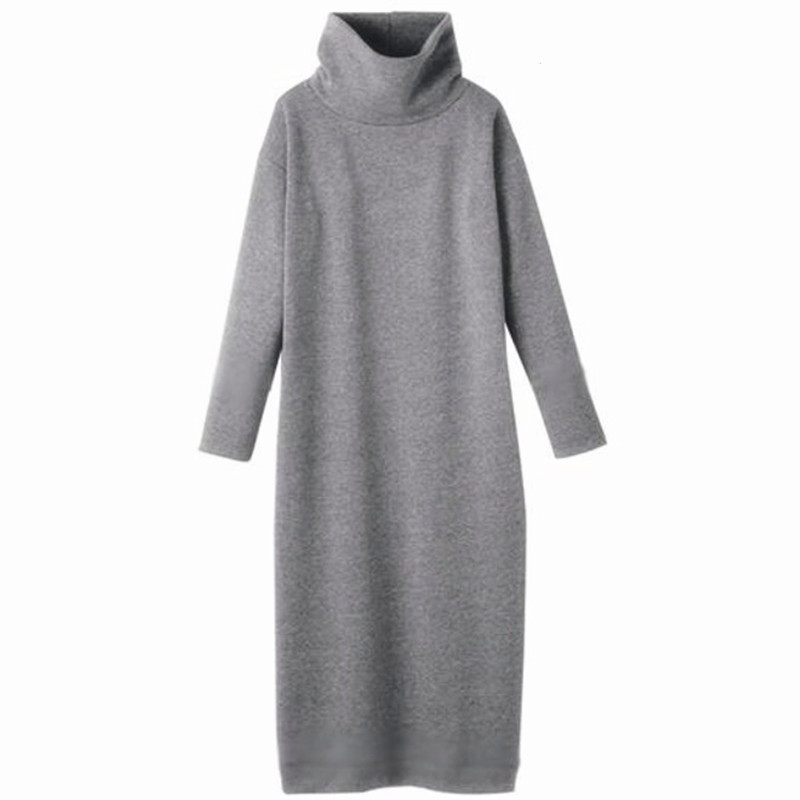 2018 Spring sexy long dress,warm Turtleneck Long dress,plus size clothes S 5XL 6XL Knitting Dress Black red white gray Red Black