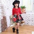 2016 otoño invierno de las muchachas vestidos de noche para 9 10 11 12 años de la muchacha Ropa Chaleco rojo vestido de Los Niños de la manga completa Vestidos de ropa