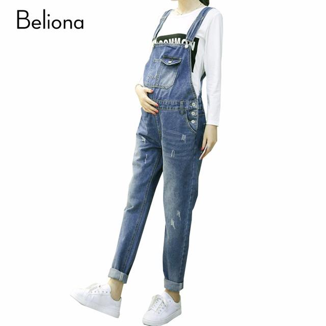 Blue jeans Macacões Casual Calças Grávidas Maternidade Jeans Macacão Jumpsuite Primavera Queda Roupas de Inverno para As Mulheres Grávidas