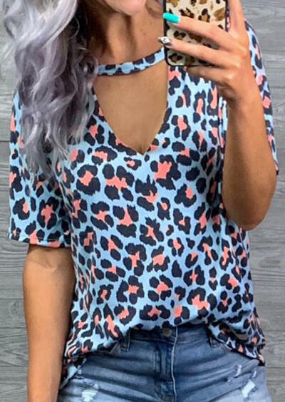 Women Leopard Hollow Out Tee Female Sexy V-neck Short Sleeved T-shirt Plus Size Korean 90s Aesthetic Top Tee Camisetas Mujer