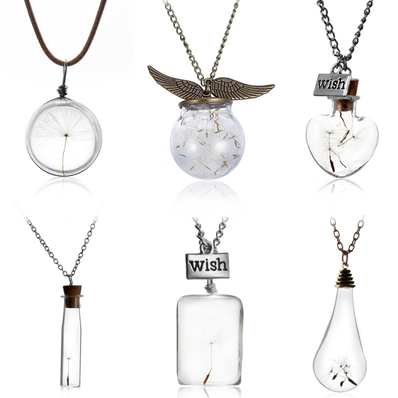 Make A Wish Glass Bead Orb Natural dandelion seed in glass long necklace Glass bottle necklace