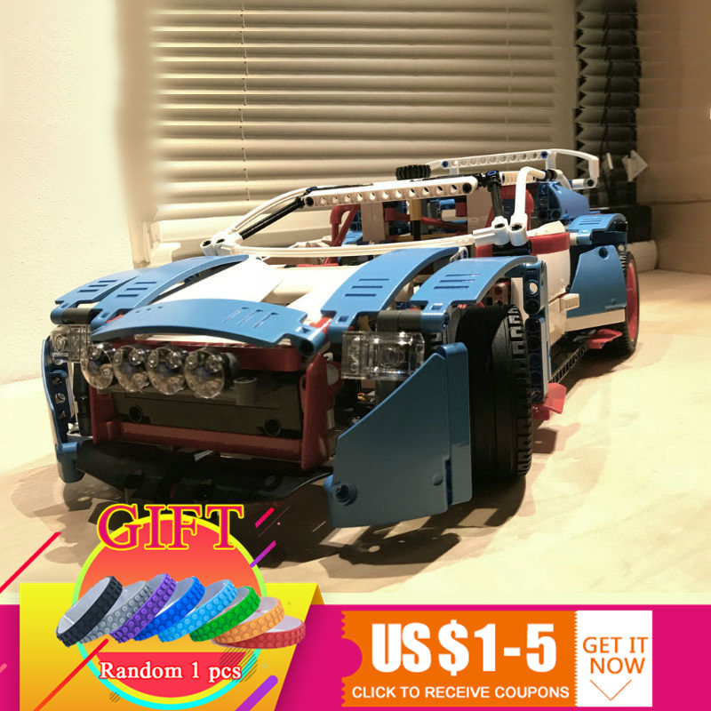 20077 1085Pcs Technical Series The Rally Car Set Compatible with 42077 Building Blocks Bricks children Educational gifts lepin 20077 genuine technic series the rally car set 42077 building blocks bricks educational funny toys as children gifts