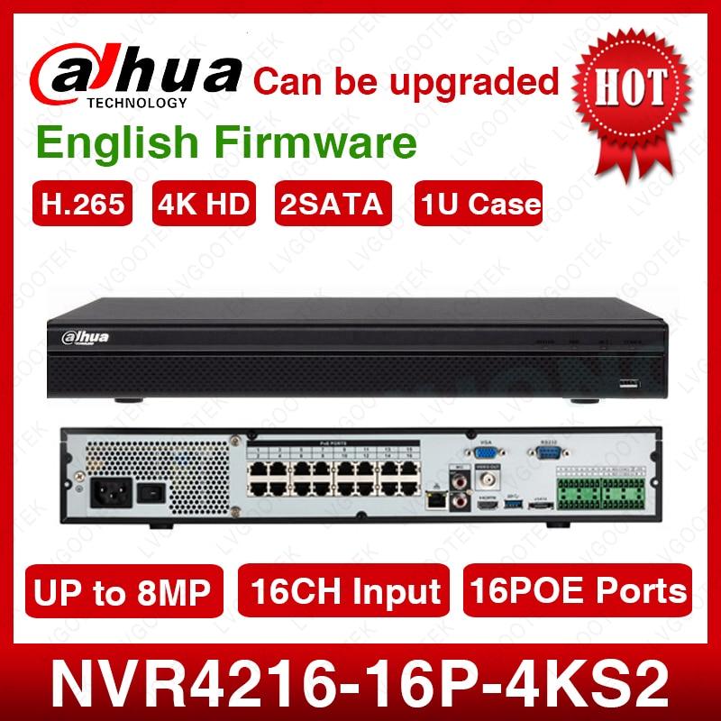 EXPRESS Shipping Dahua Original NVR4216 16P 4kS2 16CH NVR 8MP 1U 16PoE 4K H 265 Lite