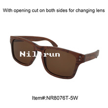 rectangle rosewood sunglasses with decorative metal pins