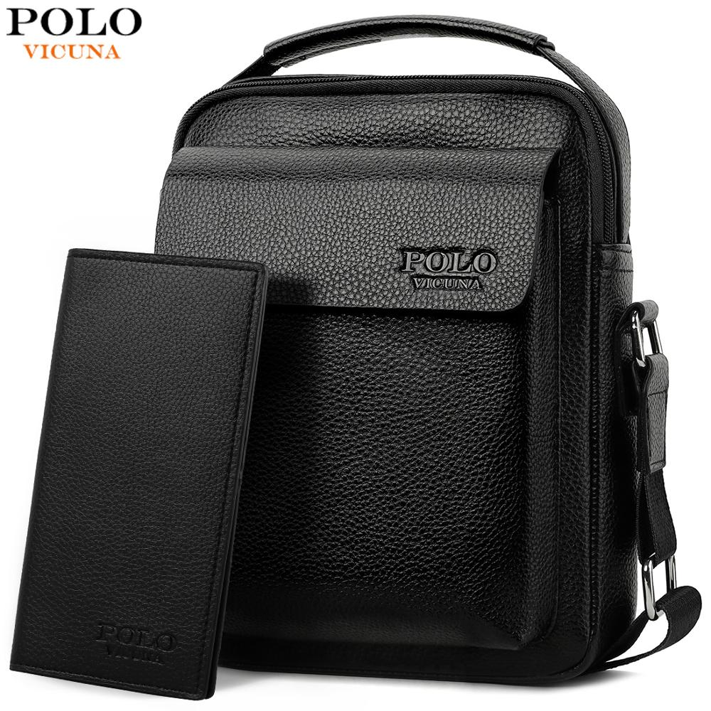 VICUNA POLO Solid Leather Men Crossbody Bags With Male Wallet Bag Set Famous Brand Mens Business Messenger Bags sac a main Hot