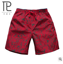 2015 New summer Men's beach shorts male red printing quick-dry Fifth shorts Men Swimwear Board Shorts  Loose Swimsuit#B3