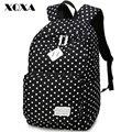 Xqxa clásico punto de impresión mujeres de la lona mochila informal bolsa mochila para adolescentes niñas mochila escolar femenina linda mochila