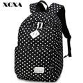 Xqxa clássico dot printing canvas mulheres mochila saco mochila para meninas adolescentes mochila escolar casuais femenina bonito mochila