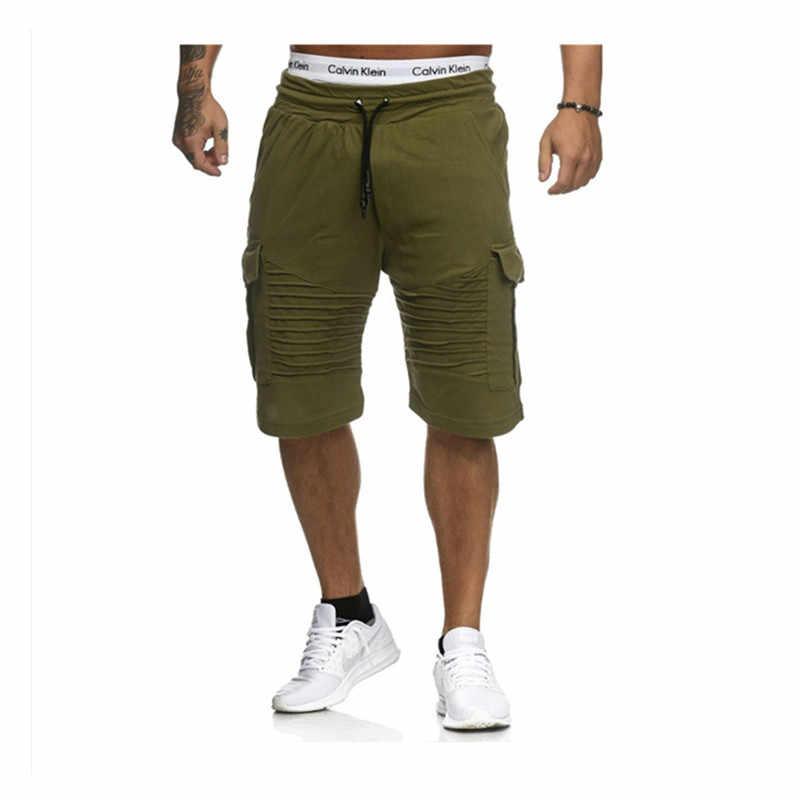 2018 ฤดูร้อน Jogger กีฬาบางสีดำสั้นกางเกงชายฝ้าย Casual สีดำและสีขาว Hip-Hop กางเกงขาสั้น