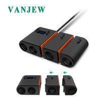 VANJEW C37 Car Power Adapter Cigarette lighter 4 Sockets Splitter Dual Car Chargers Voltage Detection 5V3.1A 2 USB Ports Charger