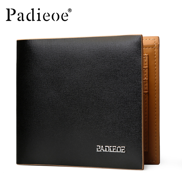 2017 Padieoe Brand Men Wallet Genuine Leather Cowhide Purse Credit Card Wallet High Quality Men's Business Casual Wallet