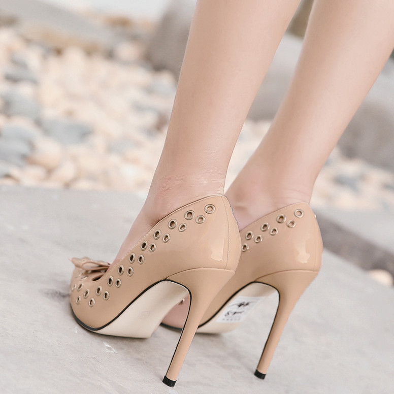 Black Women Pumps Sexy Rivet  Shoes Rome Butterfly knot High Heels Fashion Party Pointed Toe Thin Heels Stiletto free shiiping women s sexy stiletto heels w rivet party shoes khaki golden 36