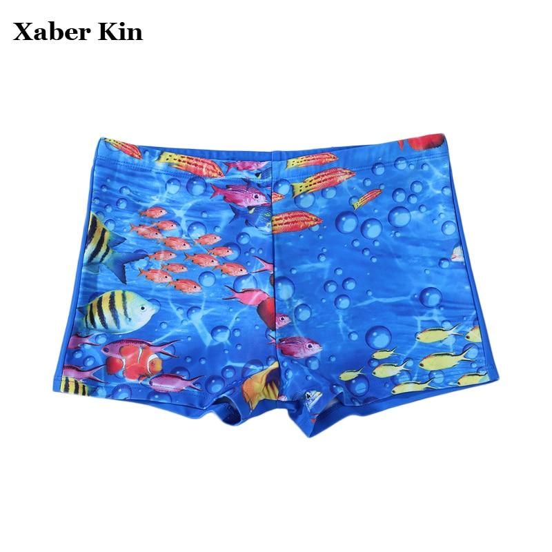Children cartoon fish swimming trunks boys summer swimwear for Fishing swim trunks