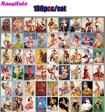 100pcs/set retro girl sticker poster waterproof laptop scooter sticker trolley case(China)